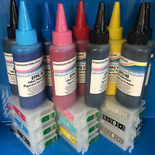 9 PIGMENT INK + REFILLABLE EMPTY CARTRIDGES FITS EPSON STYLUS PHOTO R3000 R 3000