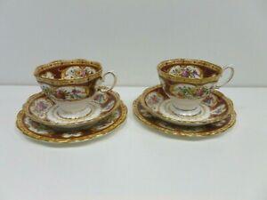 Royal Albert Lady Hamilton Bone China Trio Set x 2 Cup Saucer Tea Plate (J2)