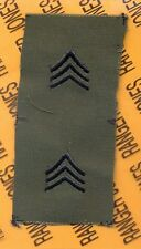 US Army Enlisted SERGEANT E-5 SGT OD Green & Black rank patch set