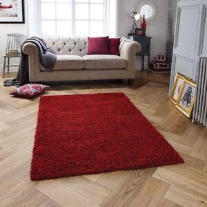 Harmonie Dick Shaggy Rubin Rot Teppich IN Verschiedenen Größen