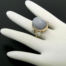 Vintage 14K Two Tone Gold 27.7ctw LARGE Oval Star Sapphire Diamond Cocktail Ring