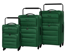 IT Luggage World's Lightest Spinner With Quilted Front Panel Pine Green Set of 3