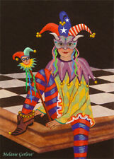 Aceo by Melanie Gerleve Lady Jester Chess Board Art Trading Card