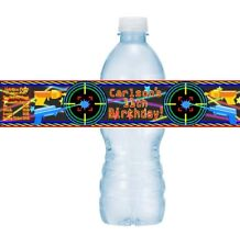 12 Laser Tag Birthday Party Water Bottle Labels Stickers Guns Beam Neon Stars