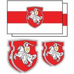 Belarus Pagonya Flag Vinyl Sticker Set Car Window Laptop White Knight WHITE RED