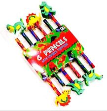 6 x Dinosaur Pencils with Dinosaur Shaped Rubber Eraser Toppers Fun Party Bags