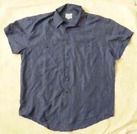BESTOWN chemise pour homme authentique en soie pure légère bleu-gris L TBE