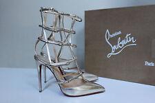 New sz 7.5 / 38 Christian Louboutin Kadreyana Gold Leather Cage Sandal Shoes