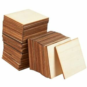 60-Pack Unfinished Wood Pieces, Wooden Squares Cutout Tiles for DIY, 3 x 3 inch