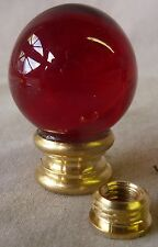 """Lamp Finial 1"""" red glass ball 1 7/16""""h """"a"""" (per each) W/ REMOVABLE ADAPTER (RA)"""