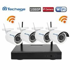 Techage 4CH 1080P Wireless NVR 1.0MP Wifi CCTV IP Camera Home Security System