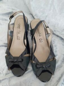 Navy Patent Leather Slingback Wedge Sandals Size 4