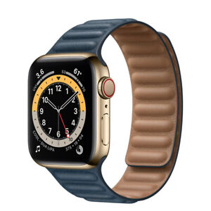 Apple Watch Gold Stainless Steel Case with Leather Link WiFi + CELLULAR 40MM