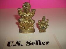 2 Miniature Brass statues of Goddess Durga Ma or Devi Ma US Seller