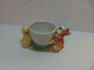 Chick + Rabbit – c1930 ceramic Egg Cup with built in Whistle