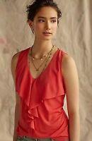 Anthropologie Deletta Pinna Top coral ruffle front tank top blouse Medium v neck