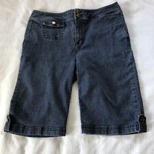 Chico's Bermuda Jean Shorts Size 0 Blue Medium Wash Stretch Denim