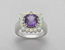NEW Solid Sterling Silver Genuine Natural Amethyst & Opal Cocktail Ring Size 7