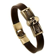 Mens Dark Brown Cowhide Leather SKULL Bracelet Antique Bronze 8 inch
