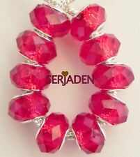 10 Dark Ruby Red Faceted Beads fit European Style Jewelry 9 * 14 & 5mm Hole B063