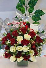Artificial Dark Red & White Rose Bouquet Silk Flowers 2 Dozen Wedding Valentine