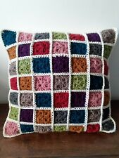 Lovely hand crocheted cushion with buttoned back - FREE P&P