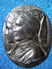Bronze Plaque 19th c. Dante and Beatrice. Rare and collectable