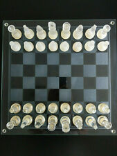 Large glass chess set with clear and frosted pieces 35cm square