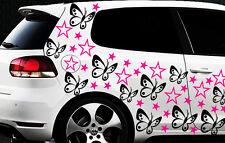 114x Auto Aufkleber Sterne Star Hibiskus Blum 1 Schmetterlinge HAWAII WANDTATTOO