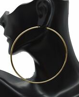 14k Solid Yellow Gold big Large Endless hoop Earrings. 70mm x 2 MM 3.2gr