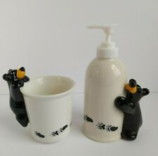 Bearfoots Black Bear Bathroom Set Soap Dispenser & Cup Big Sky Carvers Rare