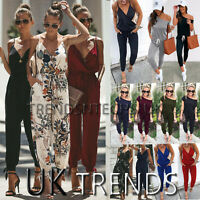 UK Boho Women Strappy Floral Jumpsuit Ladies Holiday Playsuit Summer Beach Vneck
