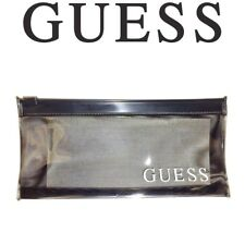 GUESS BLACK PLASTIC SEE THRU POUCH PENCIL CASE MAKEUP JEWELRY COIN OR PHONE BAG