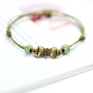GREEN BRACELET FOR LADIES BANGLE BOW CHARMS BRAIDED FRIENDSHIP CUTE GIFT