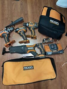 RIDGID 8 Piece COMBO! 4 Brushless 18V tools, 2 tool bags, 18v battery & charger