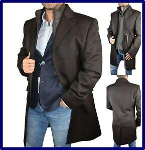 cappotto cappotti soprabito da uomo elegante di lana lungo marrone classico 46