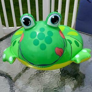 "Retro 2001 INTEX Frog ~ Float ~ Swim Toy / Open Ring ~ Green Yellow ~ 25"" x 24"""