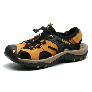Men's Closed Toe Leather Sandals Outdoor Beach Sport Nonslip Hiking Shoes