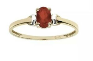 9ct yellow gold oval cut red garnet created diamond ring size I