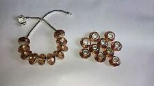 20 x FACETED BROWN Acrylic EUROPEAN CHARM BEADS 925 Stamped Silver Core