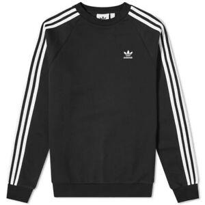 adidas Men's Adicolor Classics 3-Stripes Crew Sweatshirt- Black/ White- NWT- Lrg