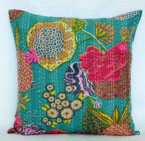 """Indian Pillow Case 16"""" Floral Decorative Kantha Work Traditional Cushion Cover"""