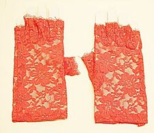 VINTAGE STYLE NETTED RED LACE FINGERLESS GLOVES  CLASSICAL GOTH STEAM PUNK
