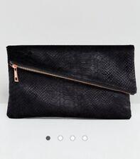 ASOS Black velvet snake square clutch bag with slanted rose gold zip top