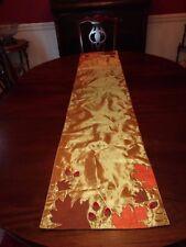 Earl & Wilson Formal Table Runner Gold Orange Autumn Leaves Acorns 15x72 New