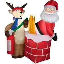 4 ft. Santa in Chimney on Fire Funny Christmas Inflatable