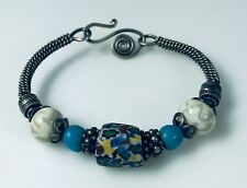 Artisan Made Bangle Bracelet Loaded with Sterling Silver & Interesting Beads b