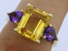 SUPERB Genuine 9ct Solid Gold NATURAL Citrine & Amethyst Ring Colorful size N