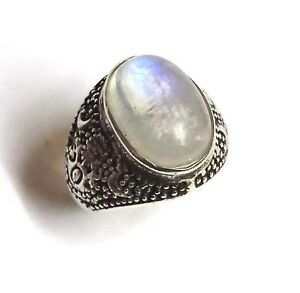925 Sterling Silver Rainbow Gemstone Wedding Jewelry Natural Oval Moonstone Ring