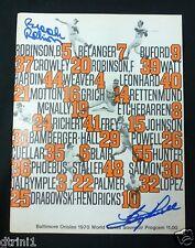 Brooks Robinson Boog Powell Autograph Orioles Official 1970 World Series Program